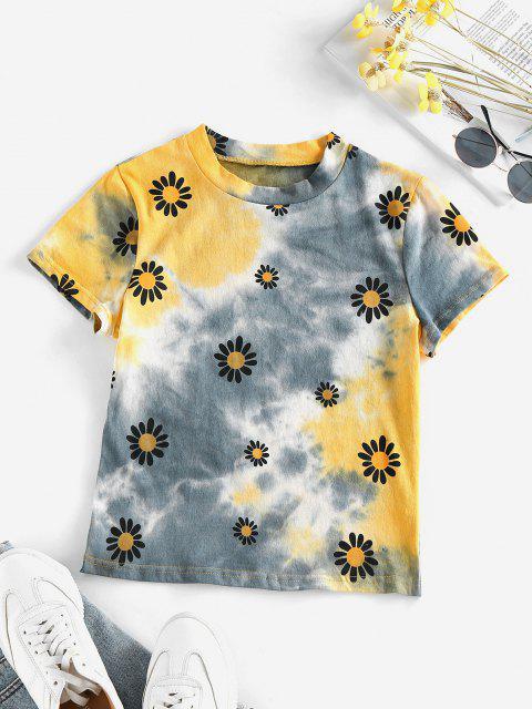 ZAFUL T-shirt de Manga Curta de Impressão de Flores e Tingimento de Gravata - Multi L Mobile