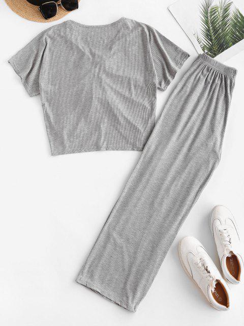 Geschnürte Gerippte Weites Bein Zweiteilige Hose Set - Grau Eine Größe Mobile