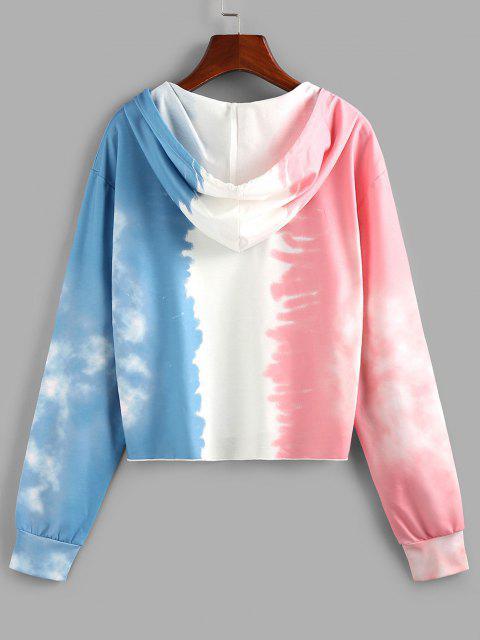 ZAFUL Tie Dye V Notch Drawstring Hoodie - متعدد M Mobile