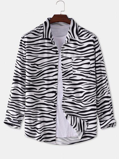 trendy Zebra Print Pocket Patch Shirt - WHITE 2XL Mobile