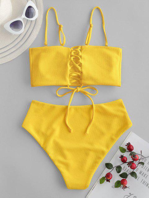 ZAFUL Maillot de Bain Bikini Bandeau Côtelé à Lacets - Jaune M Mobile