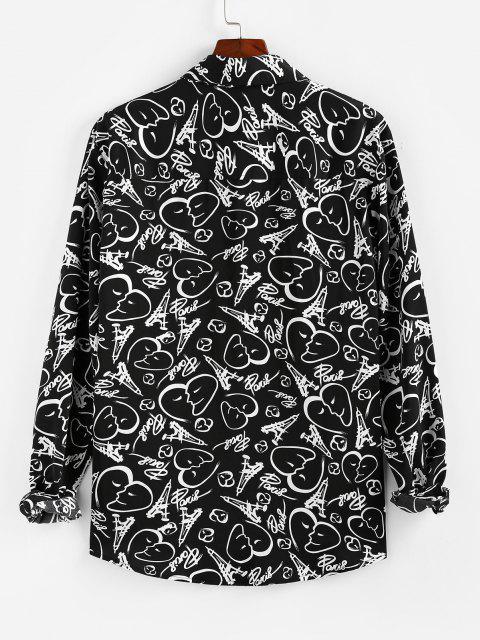 ZAFULスケッチハーツはボタン付きシャツ - ブラック S Mobile