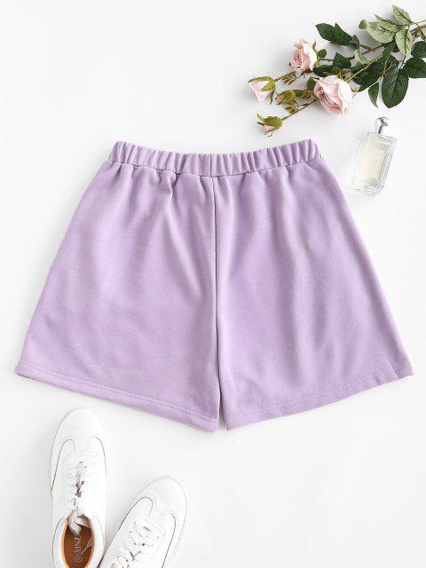 buy Pocket High Waisted Loose Shorts - LIGHT PURPLE M Mobile