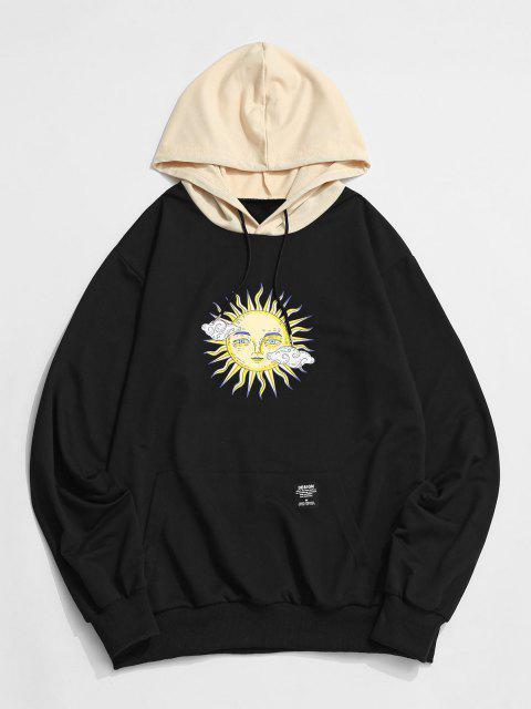 unique ZAFUL Celestial Sun Print Colorblock Hoodie - BLACK M Mobile