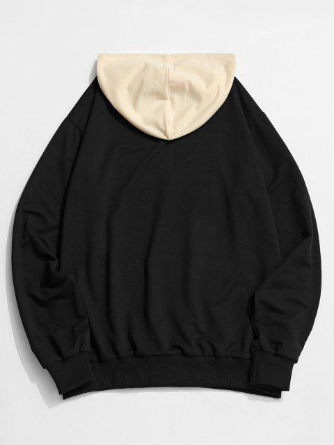 buy ZAFUL Celestial Sun Print Colorblock Hoodie - BLACK 2XL Mobile