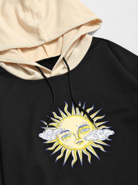 shop ZAFUL Celestial Sun Print Colorblock Hoodie - BLACK S Mobile