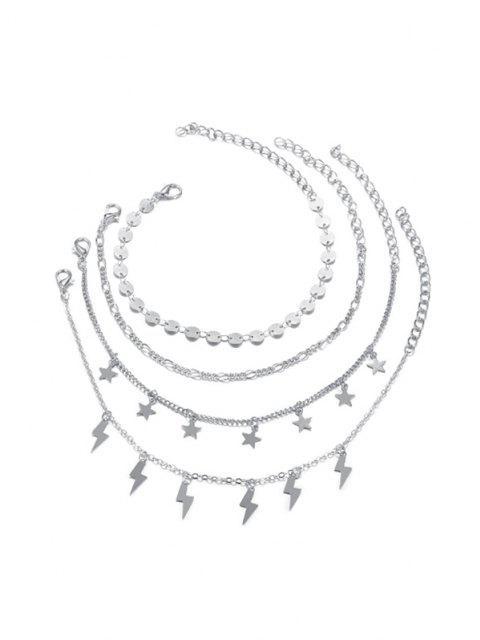 outfit 4 Piece Star Lighting Disc Chain Anklets Set - SILVER  Mobile