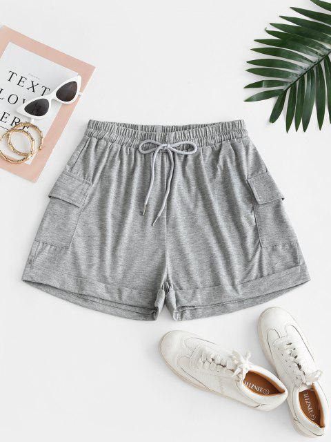 ladies Drawstring Marled Cuffed Sweat Shorts - GRAY L Mobile
