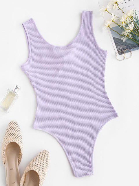 womens Ribbed Tied V Neck Bodysuit - LIGHT PURPLE L Mobile