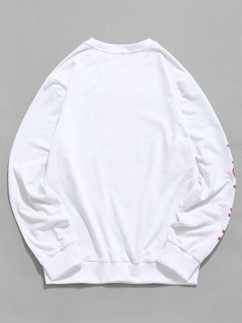 womens Rib-knit Trim Letter Graphic Print Sweatshirt - WHITE XL Mobile