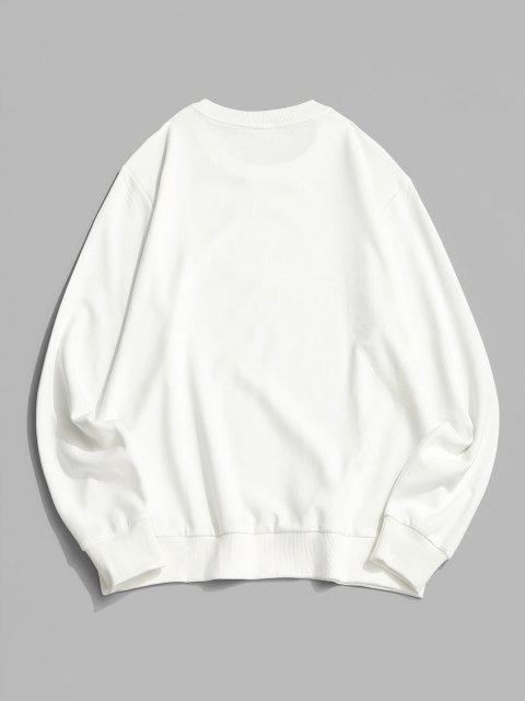 ZAFUL Sweatshirt Graphique Lettre Flamme - Blanc M Mobile