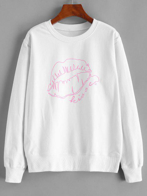 Lip Pattern Cotton Pullover Sweatshirt - أبيض L Mobile
