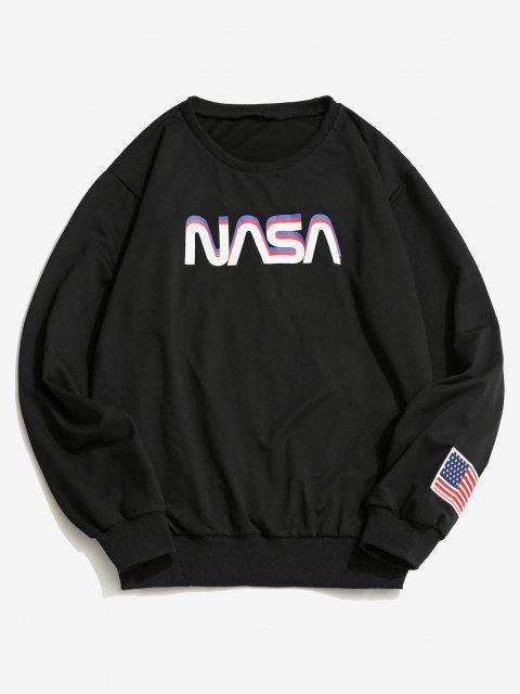 chic ZAFUL Space Shuttle Program Graphic Sweatshirt - BLACK M Mobile