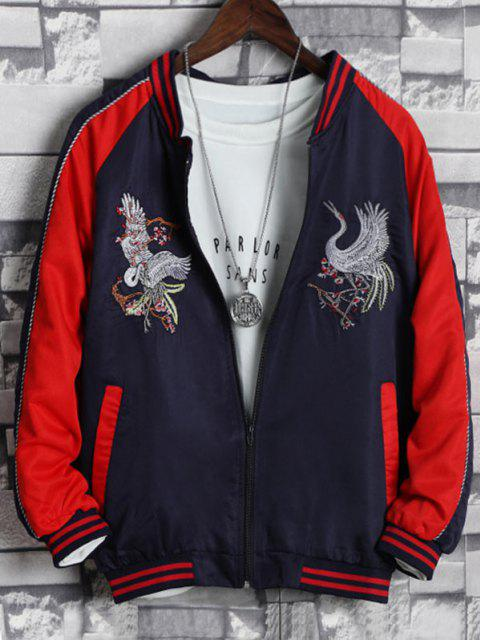 ladies Colorblock Flying Crane Embroidery Chinoiserie Souvenir Jacket - RED XS Mobile