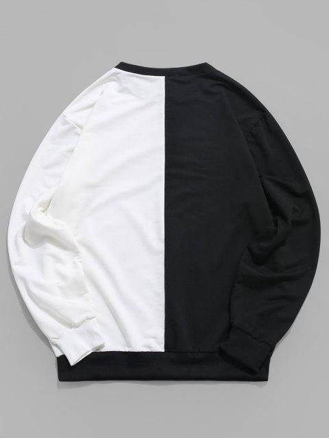 Grafik Tigerdruck Kontrast Kapuze Sweatshirt - Weiß 2XL Mobile