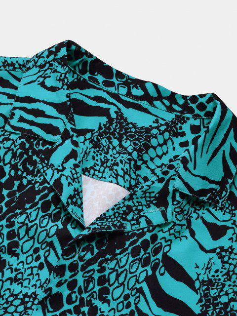 chic Animal Print Ombre Button Down Shirt - DEEP GREEN M Mobile
