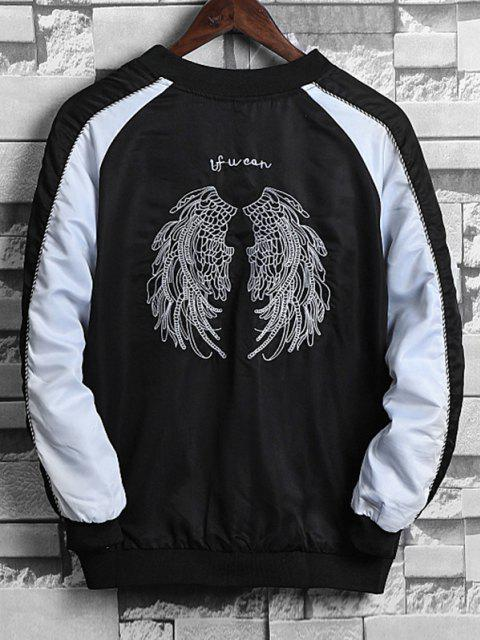 outfits Wing Embroidery Colorblock Raglan Sleeve Souvenir Jacket - WHITE XS Mobile