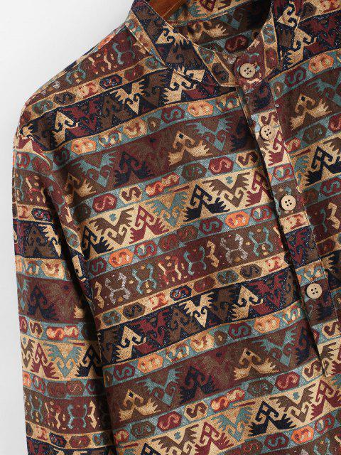 best Tribal Print Half Button Long Sleeve Shirt - DEEP COFFEE S Mobile