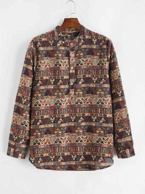 Tribal Print Half Button Long Sleeve Shirt - القهوة العميقة S Mobile