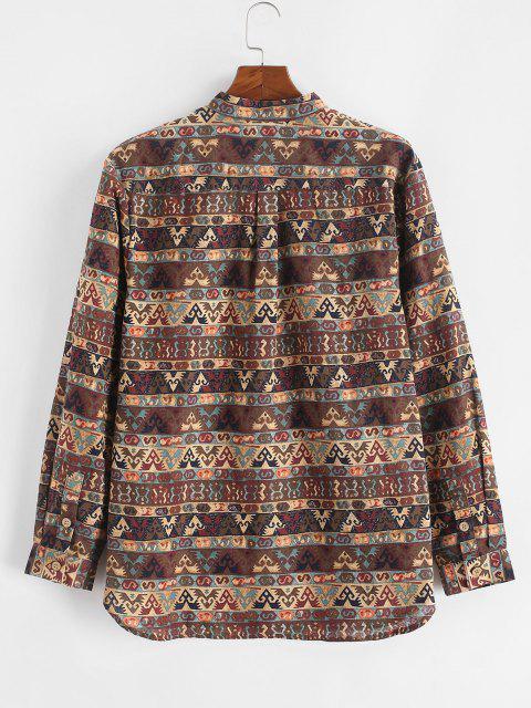 online Tribal Print Half Button Long Sleeve Shirt - DEEP COFFEE 2XL Mobile