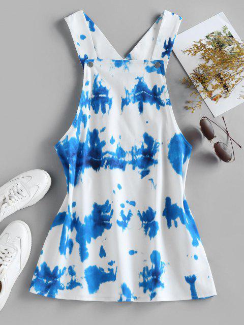 new ZAFUL Tie Dye Mini Overall Dress - WHITE M Mobile