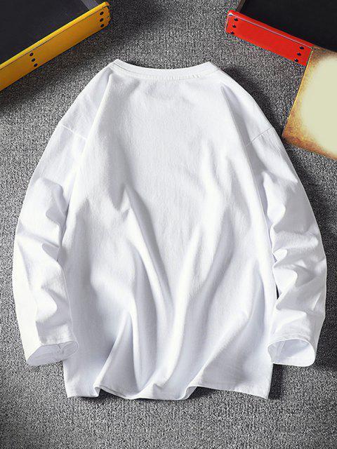 fancy Be My Girl Print Long Sleeve Basic T-shirt - WHITE 2XL Mobile