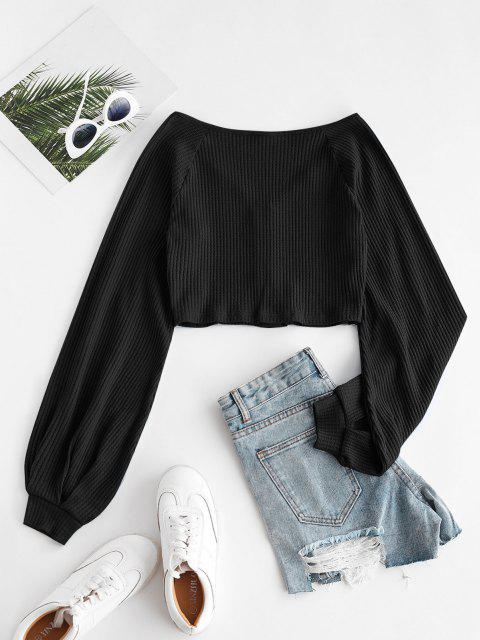 affordable Knit Voluminous Sleeve Cropped Cardigan - BLACK S Mobile