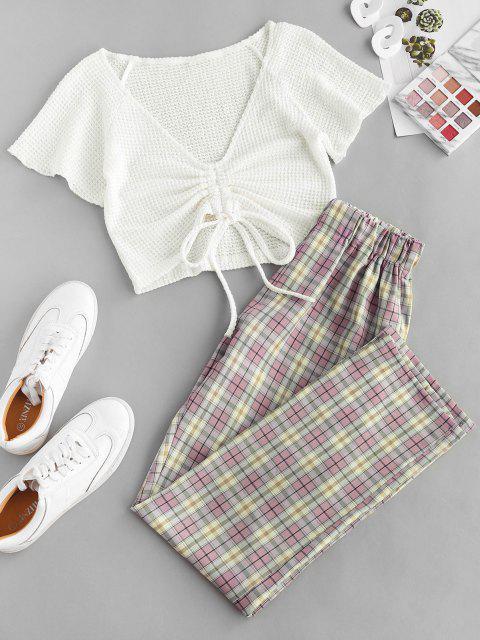 fancy Cinched Plaid High Waisted Pants Set - LIGHT PINK L Mobile