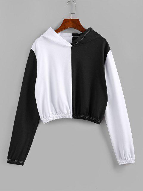 women's ZAFUL Bicolor Elastic Hem Crop Hoodie - MULTI-A XL Mobile