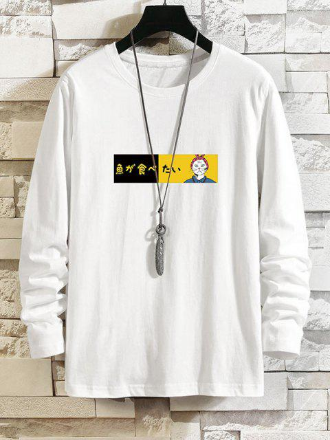 lady Japanese Cat Graphic Print Long Sleeve Tee - WHITE 3XL Mobile