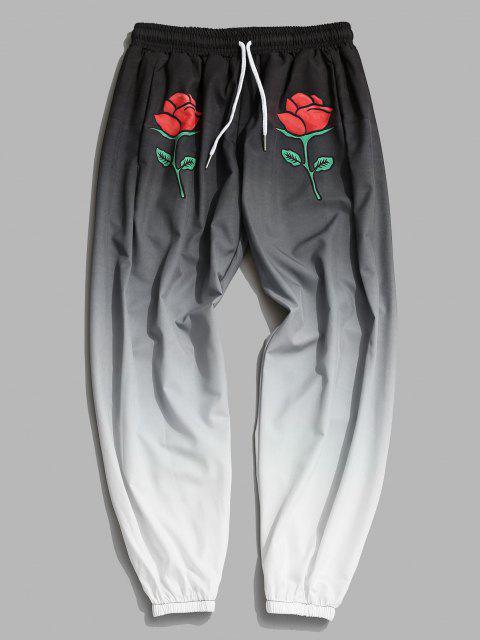 Pantalones Acampanados con Estampado de Rosa Ombre - Gris Carbón M Mobile