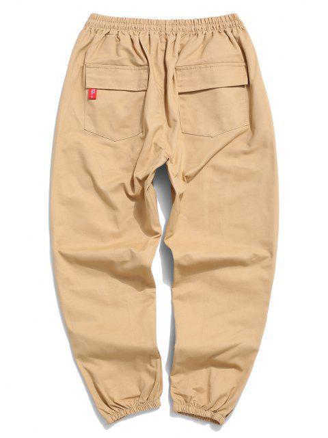Pantalones de Carga Cónicos de Apliques de Letras con Cordón - Amarillo claro S Mobile