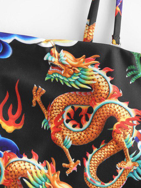 ZAFUL Orientalische Bandeau Tankini Badebekleidung mit Drachendruck - Schwarz L Mobile