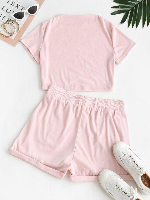 outfit Sweat Mock Neck Cuffed Two Piece Set - LIGHT PINK L Mobile