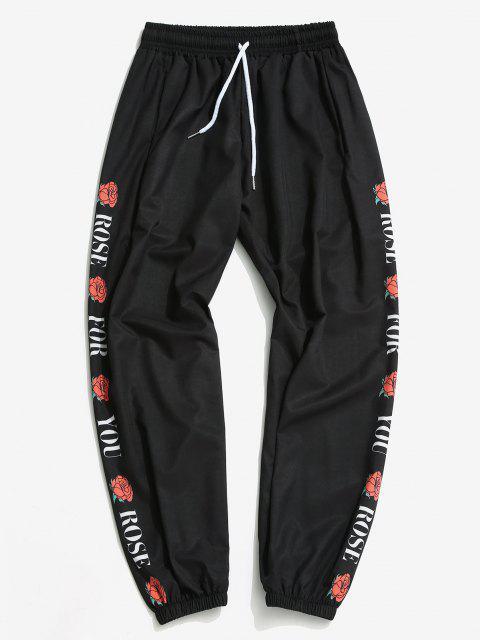 Pantalones Ajustados Diseño Impreso Flor Rosa - Negro 2XL Mobile