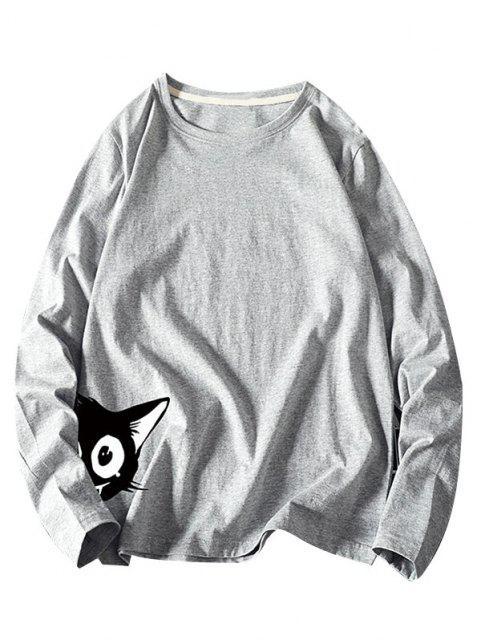 T-Shirt a Maniche Lunghe con Stampa Animali - Grigio 4XL Mobile