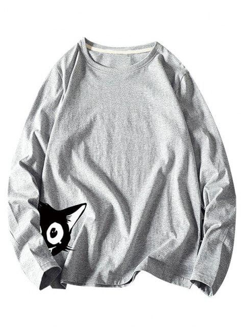 Camiseta Básica de Manga Larga con Estampado de Animal - Gris M Mobile