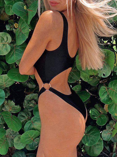 hot ZAFUL Neon Zip Cutout O-ring High Cut Swimsuit - BLACK S Mobile
