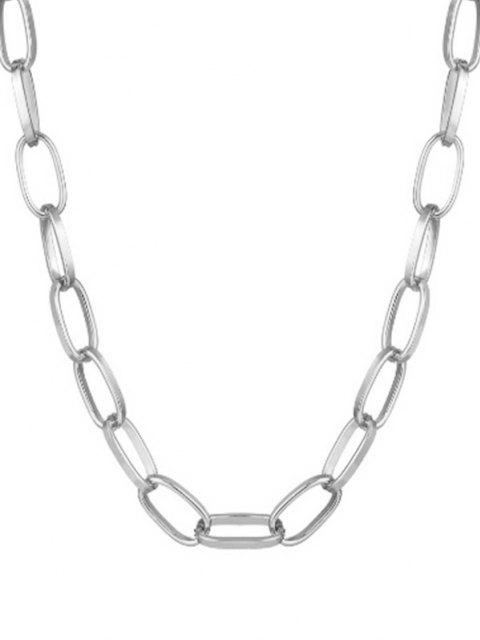 new Chunky Chain Collarbone Necklace - SILVER  Mobile