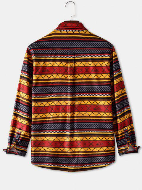 Camisa a Rayas Geométricas Bolsillo - Amarillo XL Mobile