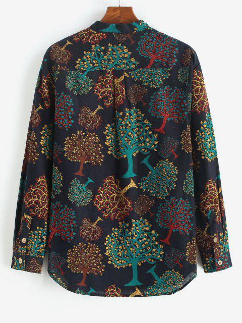 buy Trees Print Half Button Long Sleeve Shirt - BLACK L Mobile
