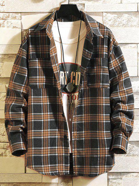 outfits Long Sleeve Plaid Print Double Pockets Shirt - DEEP GREEN 3XL Mobile