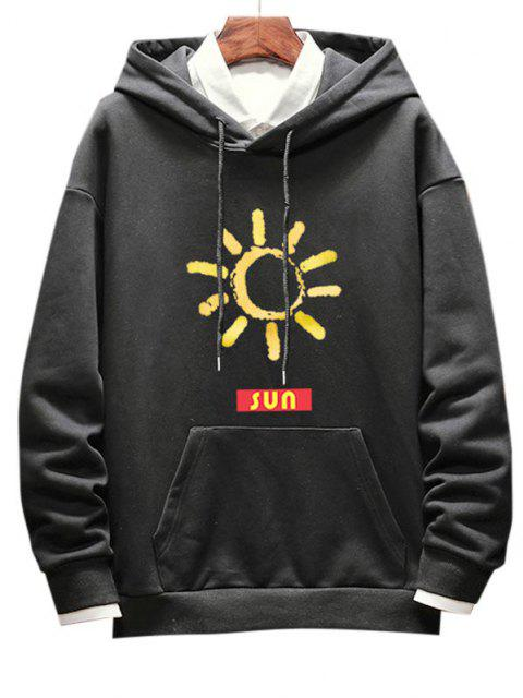 women Sun Pattern Drop Shoulder Hoodie - BLACK M Mobile