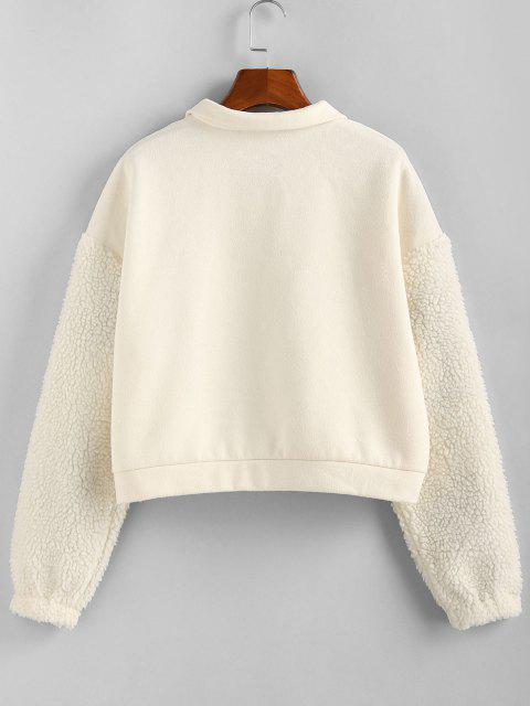 ZAFUL Faux Fur Sleeve Half Zip Sweatshirt - الأبيض الدافئ S Mobile