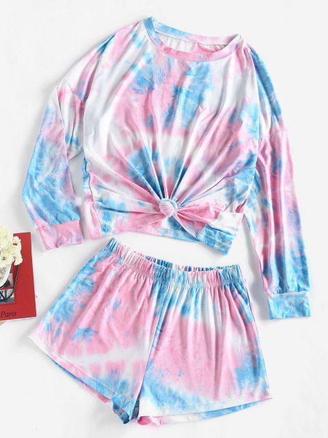 ZAFUL Krawattenfärbende T-Shirt und Shorts Zweiteiler Set - Hellblau M Mobile