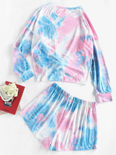 womens ZAFUL Tie Dye Tee and Shorts Two Piece Set - LIGHT BLUE L Mobile