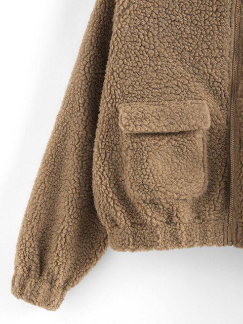 ZAFUL Manteau avec Poches à Manches Raglan en Fausse Fourrure - Cassonade S Mobile