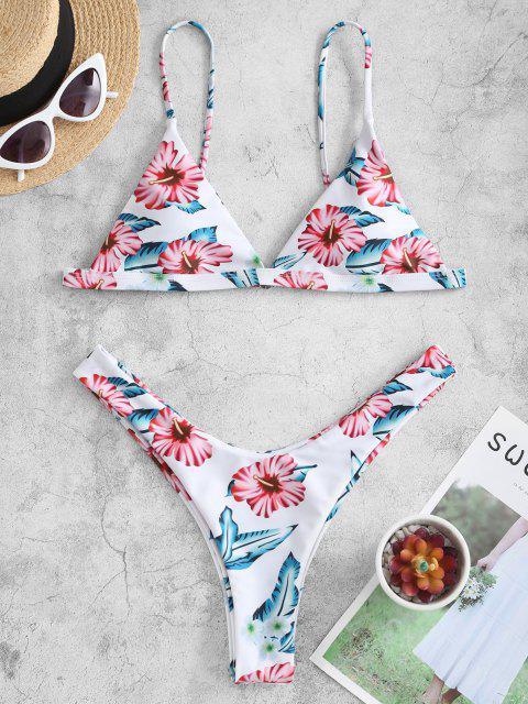 women ZAFUL Leaf Print High Leg Bikini Set - NATURAL WHITE S Mobile