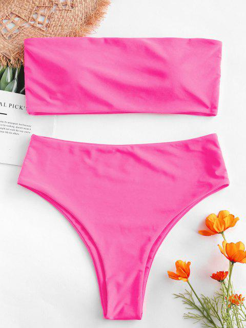 shop ZAFUL High Waisted Bandeau Bikini Set - HOT PINK M Mobile