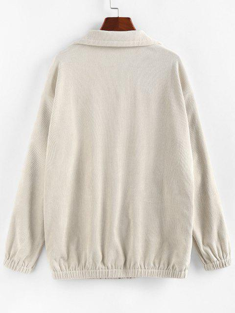 ZAFUL Corduroy Pocket Drop Shoulder Jacket - ضوء الكاكي S Mobile